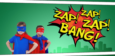 pretending: Masked kids pretending to be superheroes against the words zap and bang
