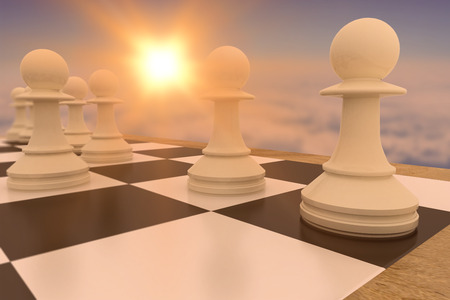 first move: White pawns on chess board against blue sky over clouds at high altitude