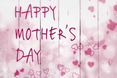 bleached: Happy mothers day message on wooden background