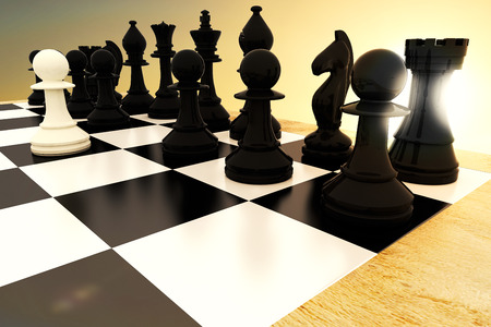 rival rivals rivalry season: Black chess pieces on board with white pawn against sunset of a beautiful day Stock Photo