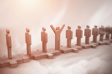 good cheer: Digital image of cheerful human standing in row above sky