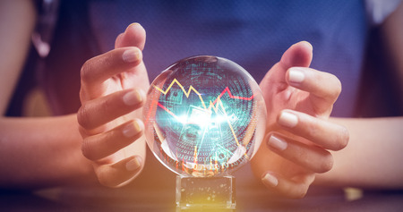 shares: Stocks and shares against a clairvoyance woman Stock Photo