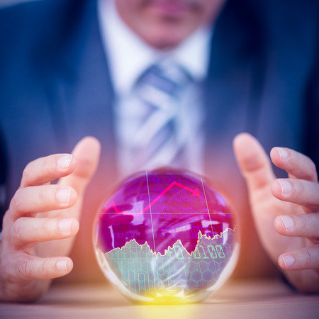 ball: Stocks and shares against businessman forecasting a crystal ball
