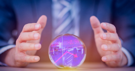 clairvoyant: Stocks and shares against businessman forecasting a crystal ball