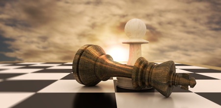 pawn to king: White pawn standing over fallen black king against cloudy sky