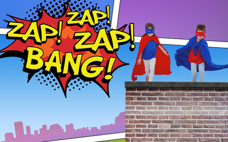 zap: Masked kids running pretending to be superheroes against the words zap and bang
