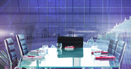 composite image: Composite image of boardroom on a modern background