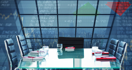 composite image: Composite image of boardroom on a building