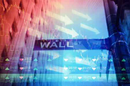 Stocks and shares against wall street Stock Photo