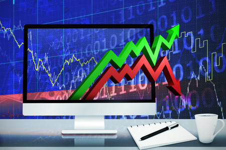 stocks and shares: Image of a desk with computer against stocks and shares