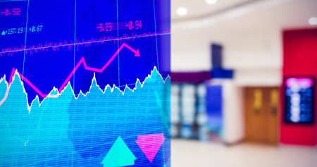 stocks and shares: Stocks and shares against interior of modern shopping mall