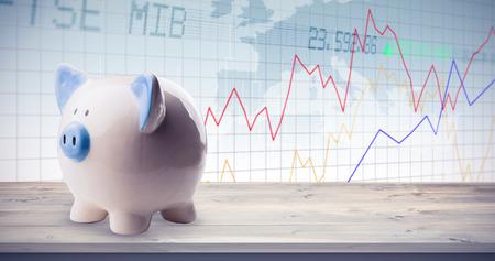 shares: Piggy bank against stocks and shares