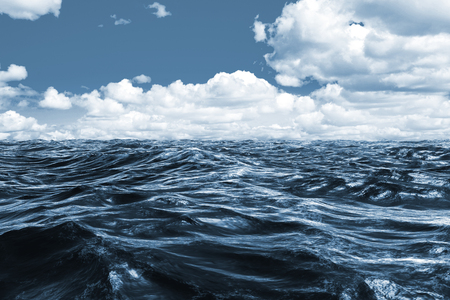 choppy: Blue rough ocean against scenic view of blue sky Stock Photo