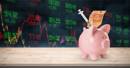 stockmarket: Health insurance concept against stocks and shares