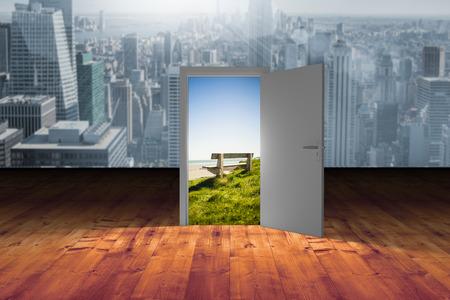 planks: Illustration of open door against wooden planks Stock Photo