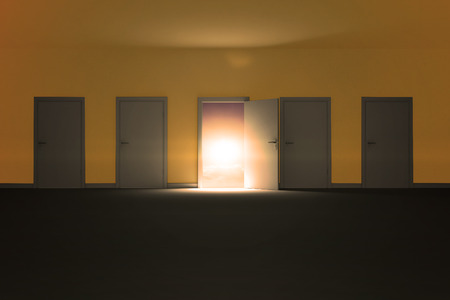beach closed: Illustration of doors against a beautiful sunset on a beach