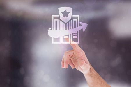 digitally generated image: Businessmans hand pointing in shirt against digitally generated image of files with star sign and arrow