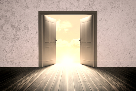 floorboard: Open big door on wall against a beautifulon a beach Stock Photo