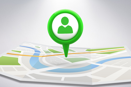 digital image: Green application symbol against digital image of map with directions