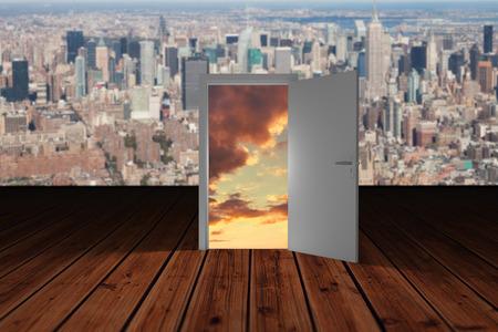 wooden planks: Illustration of open door against wooden planks Stock Photo