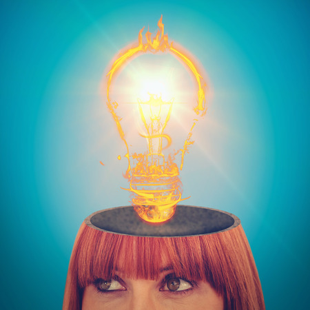 red head woman: Red head woman with copy space against blue background