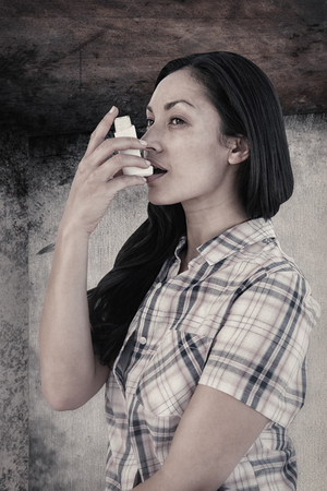 asthmatic: Portrait of an asthmatic womanagainst image of room corner