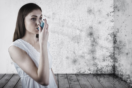 affliction: Portrait of an asthmatic woman  against image of a room corner