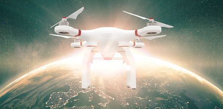 reaping: A drone against image of a earth