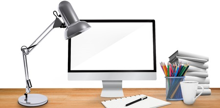 background information: Composite image of virtual desk on a white background