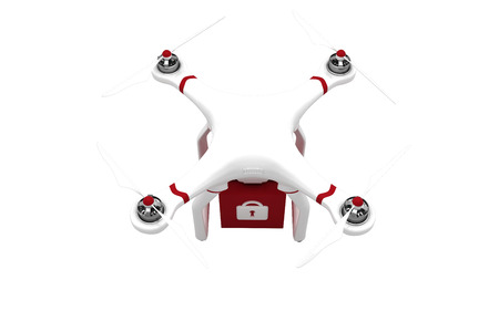 red cube: A drone bringing a red cube on white background