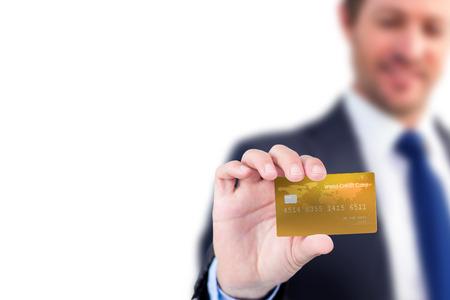 creditcard: Businessman showing a creditcard