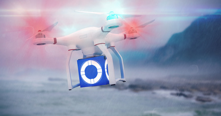 internet explorer: Digital image of a drone against ocean against the misty mountains