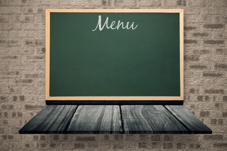 wooden shelf: Menu message  against blackboard on a wooden shelf
