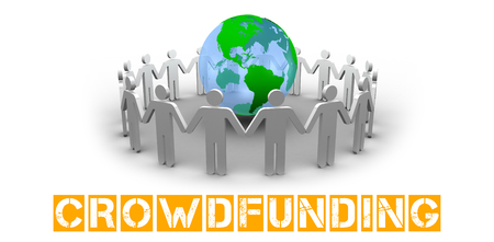 The word crowdfunding against human figures surround earth