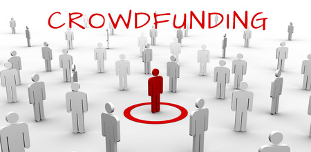 female likeness: The word crowdfunding against individuality concept Stock Photo