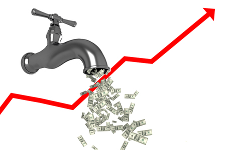 progression: Falling dollars against low angle view of faucet