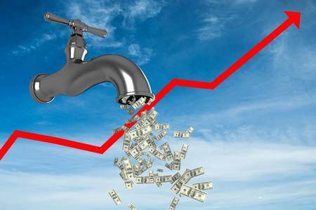 progression: Falling dollars against blue sky
