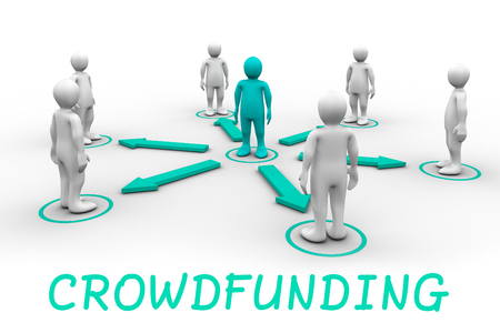 female likeness: The word crowdfunding against red 3dman requesting connection with surrounding white 3d-men Stock Photo