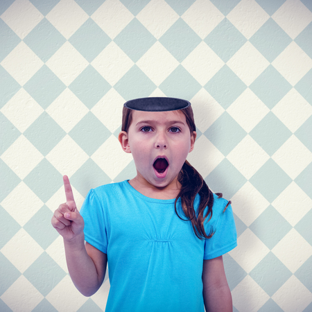 patterned wallpaper: Cute girl shaking finger saying no to the camera against blue and cream patterned wallpaper