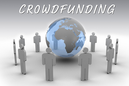 male likeness: The word crowdfunding against stick figures around the blue globe Stock Photo