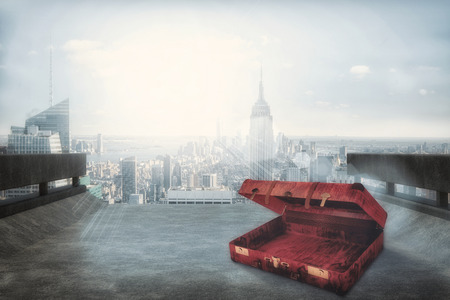 composite image: Composite image of opened suitcase against cityscape