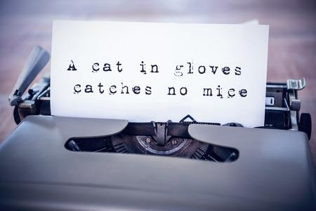 oracion: La sentencia de un gato con guantes no caza ratones contra el fondo blanco contra un papel en una impresora