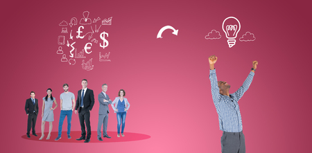 happy business team: Excited businessman cheering against red vignette