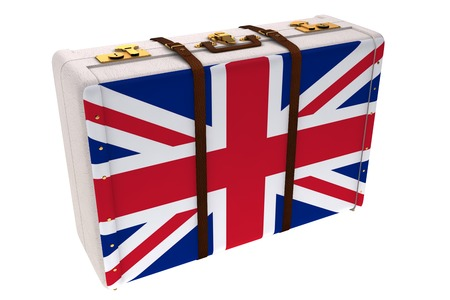 composite image: Composite image of British suitcase on a white background Stock Photo