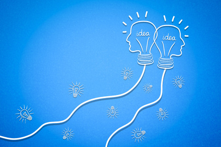 composite image: Composite image of diagram idea against a blue background