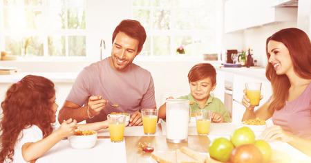 morning breakfast: Family eating healthy breakfast in kitchen Stock Photo