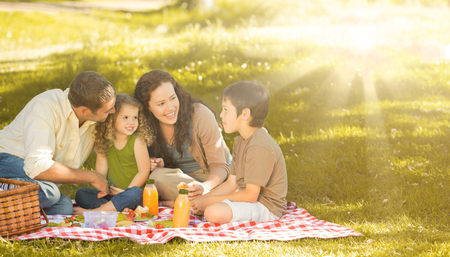 picnicking: Family picnicking together