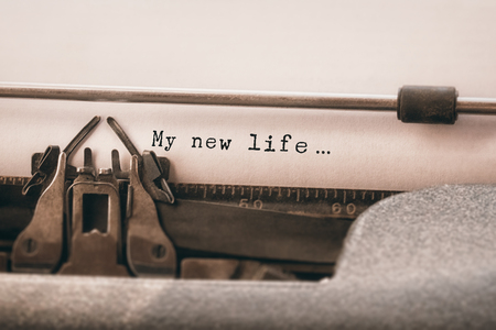 My new life message against close-up of typewriter
