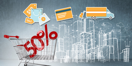 urban background: Digital shopping diagram on a white background against composite image of online shopping concept Stock Photo