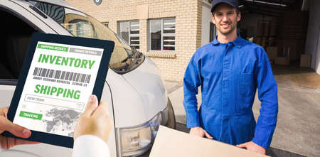 using tablet: Man using tablet pc against delivery driver packing his van